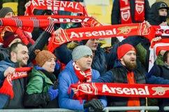 KIEV, UKRAINE - 29 novembre 2018 : Fans et ultras d'arsenal de FC pendant la correspondance d'UEFA Europa League entre Vorskla Po photos libres de droits