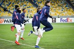 KIEV, UKRAINE - 29 novembre 2018 : Formation du football d'?quipe pendant la correspondance d'UEFA Europa League entre Vorskla Po photos libres de droits