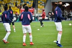 KIEV, UKRAINE - 29 novembre 2018 : Formation du football d'?quipe pendant la correspondance d'UEFA Europa League entre Vorskla Po photographie stock libre de droits