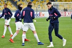 KIEV, UKRAINE - 29 novembre 2018 : Formation du football d'?quipe pendant la correspondance d'UEFA Europa League entre Vorskla Po images libres de droits