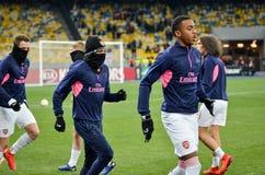 KIEV, UKRAINE - 29 novembre 2018 : Formation du football d'?quipe pendant la correspondance d'UEFA Europa League entre Vorskla Po photos stock