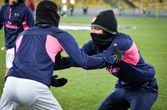 KIEV, UKRAINE - 29 novembre 2018 : Formation du football d'?quipe pendant la correspondance d'UEFA Europa League entre Vorskla Po image stock