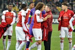 KIEV, UKRAINE - 29 novembre 2018 : Joueur de football d'arsenal de FC (Angleterre) pendant la correspondance d'UEFA Europa League photo stock