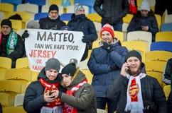 KIEV, UKRAINE - 29 novembre 2018 : Joueur de football pendant la correspondance d'UEFA Europa League entre Vorskla Poltava contre image stock