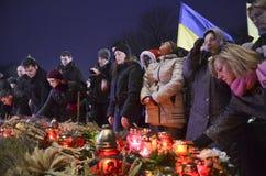 KIEV, UKRAINE - 28 novembre 2015 : Les Ukrainiens commémorent la grande famine 1932-1933 Photographie stock libre de droits