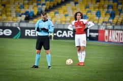 KIEV, UKRAINE - 29 novembre 2018 : Matteo Guendouzi pendant la correspondance d'UEFA Europa League entre Vorskla Poltava contre l photo libre de droits