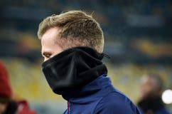 KIEV, UKRAINE - 29 novembre 2018 : Rob Holding pendant la correspondance d'UEFA Europa League entre Vorskla Poltava contre l'arse photographie stock