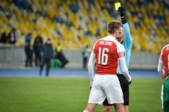 KIEV, UKRAINE - 29 novembre 2018 : Rob Holding pendant la correspondance d'UEFA Europa League entre Vorskla Poltava contre l'arse photos libres de droits