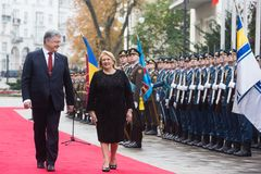 Petro Poroshenko and Maltese President Marie Louise Coleiro Prec Stock Photos