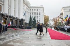 Petro Poroshenko and Maltese President Marie Louise Coleiro Prec Stock Image