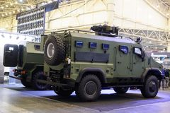 Armored cars production of KrAZ at the specialized exhibition. Kiev, Ukraine - October 12, 2017: Armored cars production of KrAZ at the specialized exhibition ` Royalty Free Stock Images