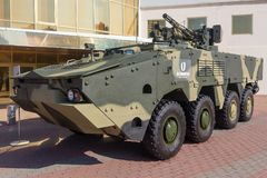 Kiev, Ukraine - October 10, 2018: Armored personnel carrierf BTR-4 the Ukrainian production at the Weapon. And Safety exhibition royalty free stock images