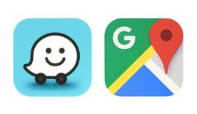 Collection of popular navigation icons. Kiev, Ukraine - October 06, 2017: Collection of popular navigation icons printed on paper: Google Maps and new Waze icon stock illustration
