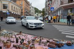 Kiev, Ukraine - October 1, 2017: Flea market in the Andrew's Descent. The historical part of the city Royalty Free Stock Images