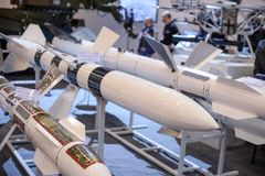 Guided anti-tank and anti-aircraft missiles at the exhibition Stock Photos