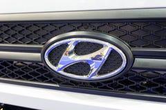 Kiev, Ukraine - October 25, 2017: Logotype of the truck Hyundai stock image