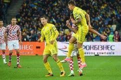 KIEV, UKRAINE - October 09, 2017: Mario Mandzukic(in jump) duri