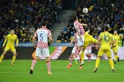 KIEV, UKRAINE - October 09, 2017: Mario Mandzukic (in jump) during the FIFA World Cup 2018 qualifying Europe match between