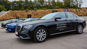 Kiev, Ukraine - OCTOBER 4, 2016: Mercedes Benz star experience. The interesting series of test drives Stock Photography