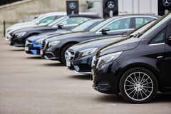 Kiev, Ukraine - OCTOBER 4, 2016: Mercedes Benz star experience. The interesting series of test drives Stock Photos