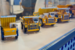 Kiev, Ukraine - October 14, 2016: Models of Belaz dump trucks pr Royalty Free Stock Photos