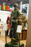Modern tactical military equipment and weapons demonstrated at the exhibition Royalty Free Stock Photography
