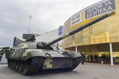 Kiev, Ukraine - October 13, 2017: Modernized tank of Ukrainian production at the exhibition. `Arms and Security 2017 Stock Photos