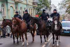 Kiev, Ukraine - October 14, 2016: Mounted police on city street Stock Photo