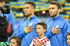 KIEV, UKRAINE - October 09, 2017: The naturalized Brazilian Marl. Os during the hymn of Ukraine during the FIFA World Cup 2018 qualifying Europe match, Ukraine royalty free stock photography