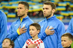 KIEV, UKRAINE - October 09, 2017: The naturalized Brazilian Marl. Os during the hymn of Ukraine during the FIFA World Cup 2018 qualifying Europe match, Ukraine stock image