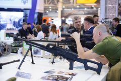 New sniper rifle at the exhibition royalty free stock photography