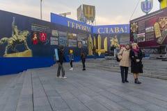 Kiev, Ukraine - October 14, 2018: Peoples consider historical materials on the Maidan Nezalezhnosti in anniversary. Of creation of the Ukrainian army royalty free stock image