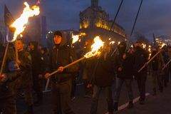 Kiev, Ukraine - October 30, 2017: Radicals from nationalist parties and organizations during the torch. On the anniversary of the creation of the Ukrainian army Royalty Free Stock Photography