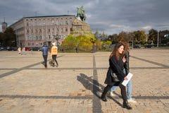 Kiev, Ukraine - October 17, 2016: Townspeople on Sofievskaya Square. Kiev, Ukraine - October 17, 2016: Townspeople and city guests on Sofievskaya Square Stock Image