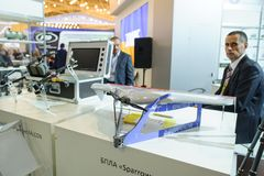 Unmanned reconnaissance aircraft at the exhibition stock image