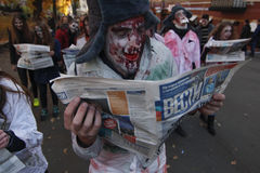 KIEV, UKRAINE - 31 octobre 2015 : Célébration de Halloween dans Kyiv Photos stock