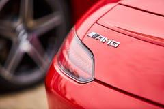 Kiev, Ukraine - 4 octobre 2016 : Expérience d'étoile de Mercedes Benz La série intéressante de commandes d'essai Logo AMG et queu Photos libres de droits