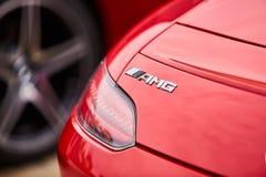 Kiev, Ukraine - 4 octobre 2016 : Expérience d'étoile de Mercedes Benz La série intéressante de commandes d'essai Logo AMG et queu Photographie stock libre de droits