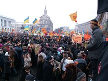 Kiev, Ukraine - 27.11.2004. The Orange Revolution in Kiev. stock photo