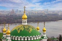 Kiev, Ukraine. Pechersk Lavra Monastery and river Dniepr panoram Royalty Free Stock Image