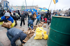 KIEV, UKRAINE: People occupide main Maidan during the pro-European protest Royalty Free Stock Images