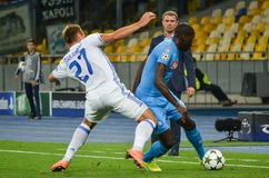 Kiev, UKRAINE - SEP 13, 2016: Kalidou Koulibaly (R )during the. UEFA Champions League match between Dynamo Kiev vs SSC Napoli, NSC Olympic stadium, 13 September Royalty Free Stock Images