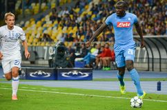 Kiev, UKRAINE - SEP 13, 2016: Kalidou Koulibaly (R )during the. UEFA Champions League match between Dynamo Kiev vs SSC Napoli, NSC Olympic stadium, 13 September Royalty Free Stock Photos