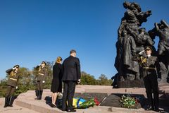 Ceremony of honoring memory of Babyn Yar victims, Ukraine. KIEV, UKRAINE - Sep. 29, 2017: President ofUkraine Petro Poroshenko and his wife Maryna Poroshenko Stock Images