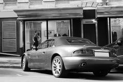 Kiev, Ukraine; September 8, 2011. Aston Martin DB7 Vantage Volante. Black and white photo stock image