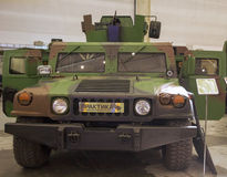 Kiev, Ukraine - September 22, 2015: Car Hummer. Adapted to the needs of the Ukrainian army at the specialized exhibition Arms and Security - 2015 Stock Image