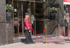Kiev, Ukraine - September 18, 2015: Doorman in uniform at work i Stock Photos