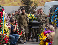 Kiev, Ukraine - September 04, 2015: Funeral service for the dead in the front Royalty Free Stock Photography