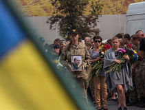 Kiev, Ukraine - September 04, 2015: Funeral service for the dead in the front as a volunteer Stock Images