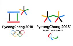 Official logos of the 2018 Winter Olympic Games in PyeongChang. Kiev, Ukraine - September 18, 2017: Official logos of the 2018 Winter Olympic Games in Stock Photos
